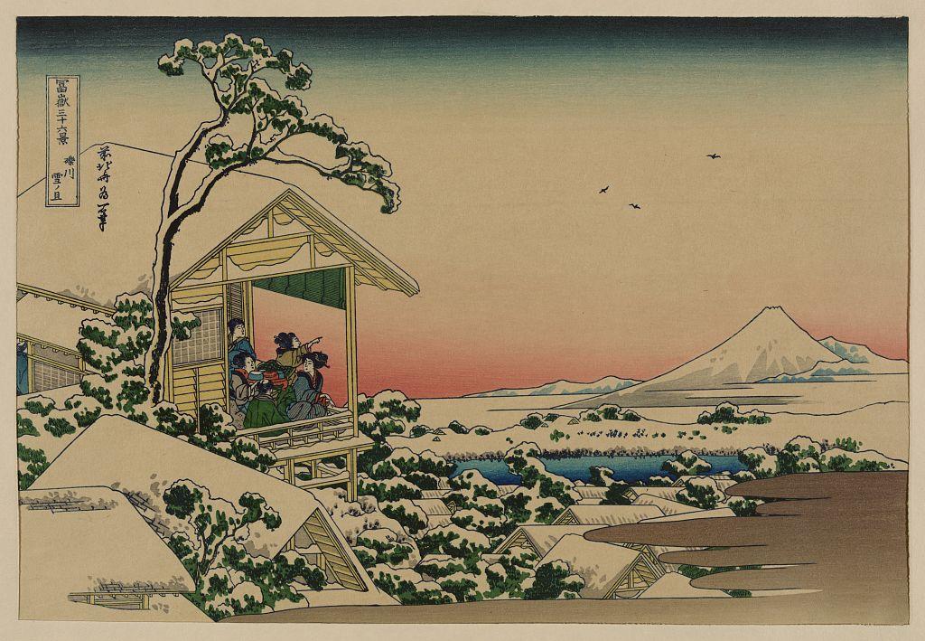 Teahouse at Koishikawa the morning after a snowfall, Katsushika, Hokusai, 1760-1849.