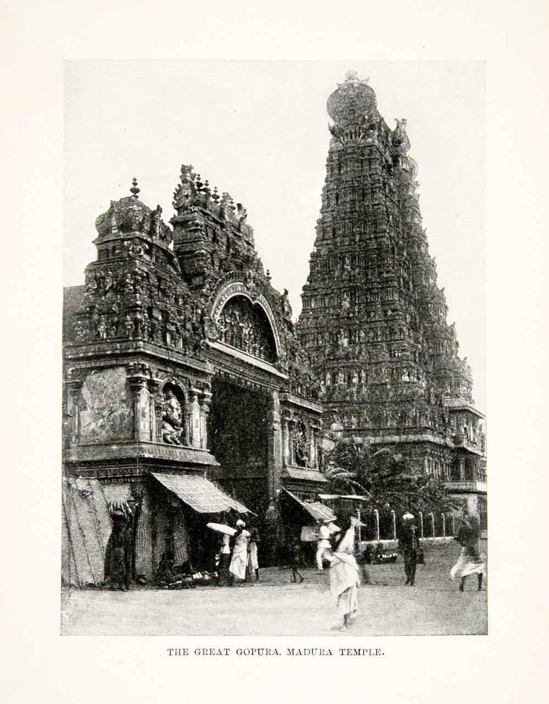 ภาพหอคอย Great Gopuram และวัด Madura ที่สร้างแบบสถาปัตยกรรมดราวิเดียน ณ เมืองมทุราย รัฐทมิฬนาฑูประเทศอินเดีย