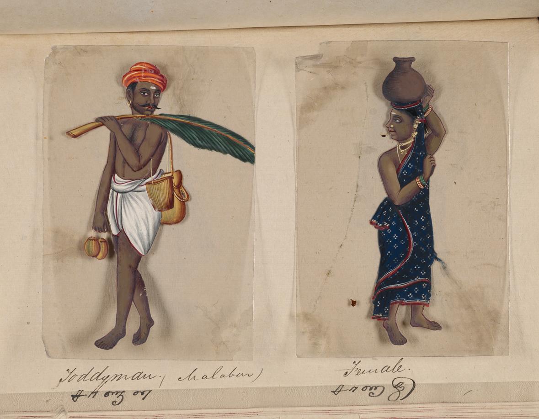 ภาพวาดชาวอินเดียใต้ คาดว่าเป็น 'ชาวทมิฬ' คำบรรยายใต้ภาพเป็นภาษาอังกฤษ (บน) และภาษาทมิฬ (ล่าง)
